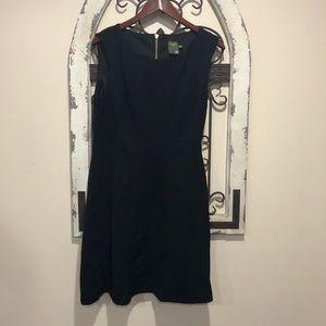 Taylor Black Jacquard Stretch Fit & Flare Dress 14